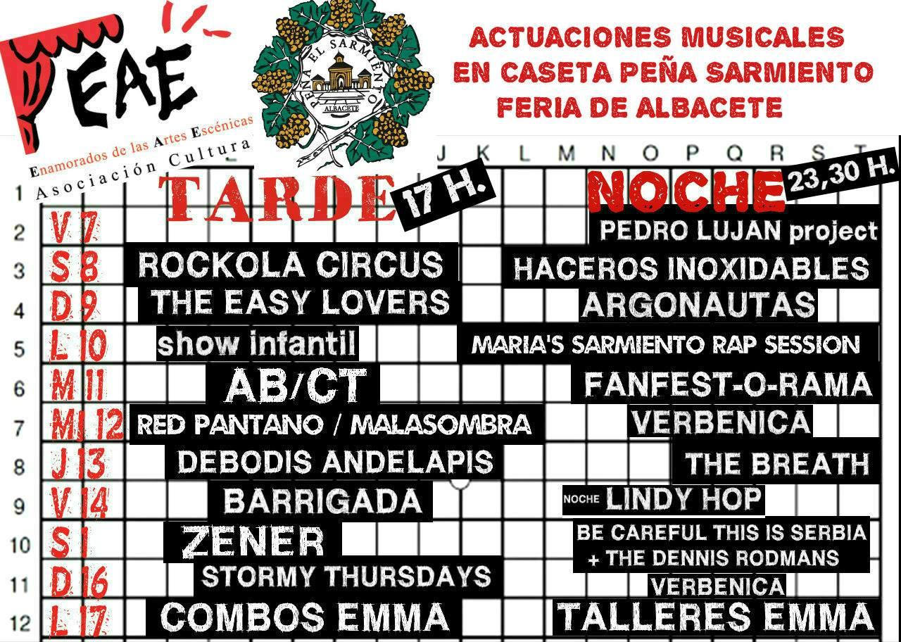 Conciertos en la Peña el Sarmiento. Feria de Albacete 2018